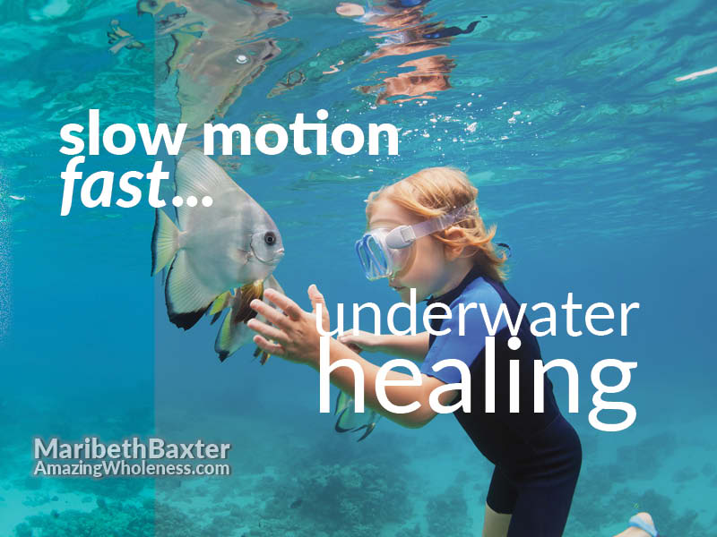 slow motion, fast, underwater healing